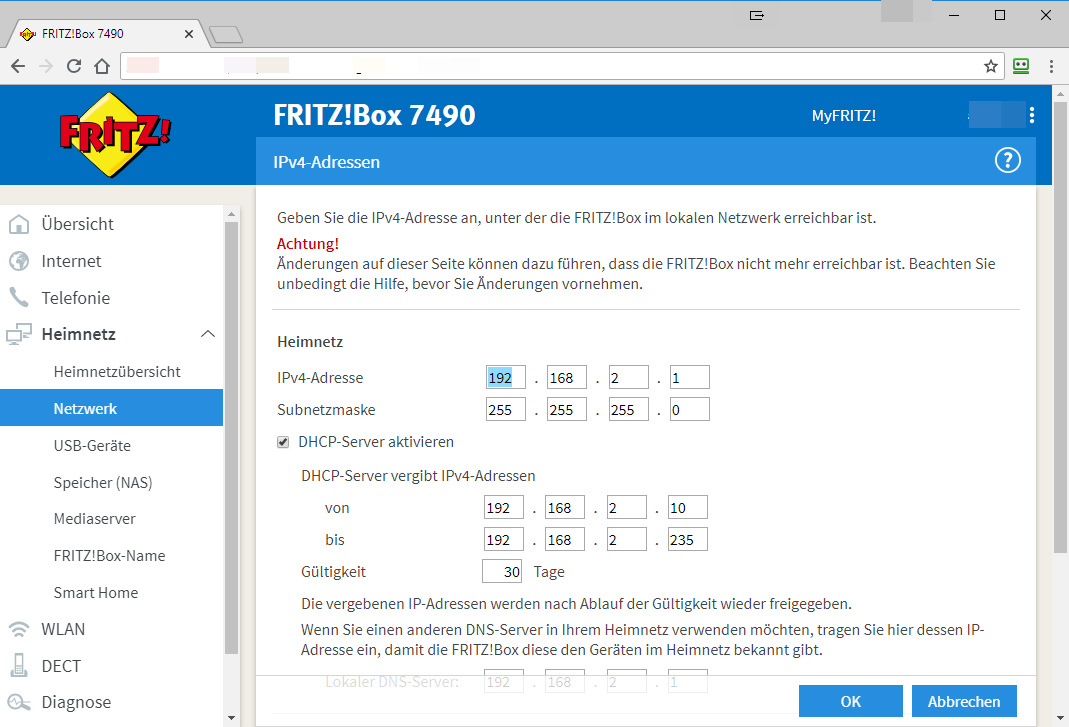Here you can see the IP range of your FRITZ!Box