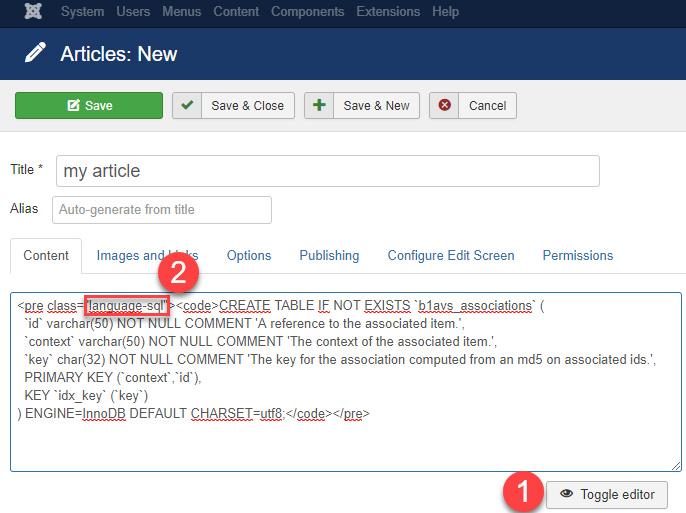PRISM (prismjs com) SyntaxHighlighter for Joomla! - Andre
